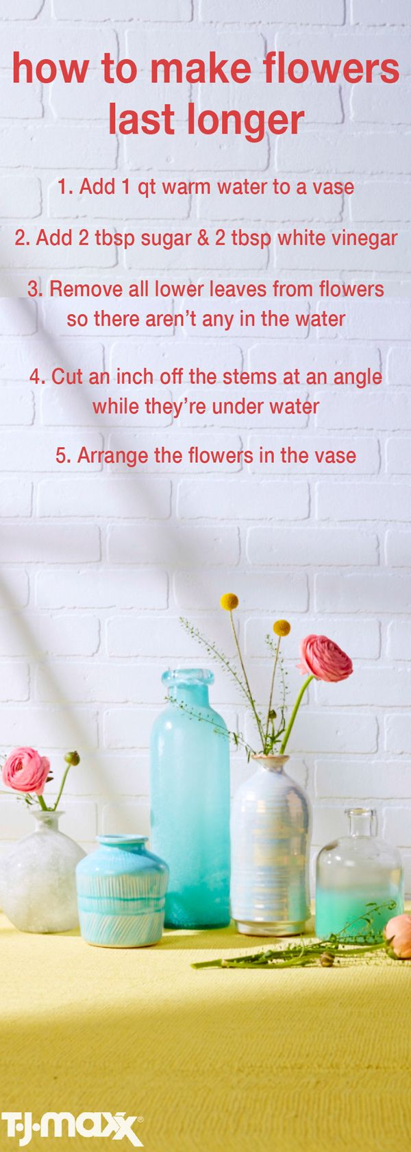 Long-Lasting Mother's Day Flowers: Get the most of out your Mother's Day bouquet this year. Use the above tips & tricks to keep your flowers fresher for longer. Shop TJMaxx.com for flower vases and more.