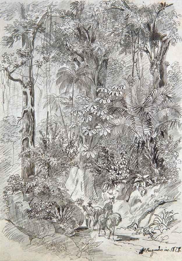 """""""Paisagem com Cavaleiro"""". (by Johann Moritz RUGENDAS)."""