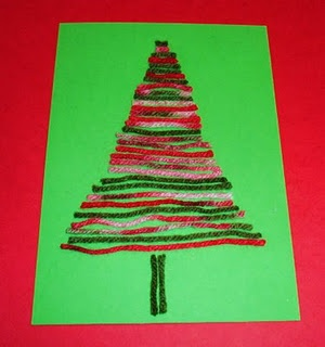Wool trees... Encourage the children to make a pattern with the wool eg red white green red white green. stick a star on top. This would make a cute card for parents.