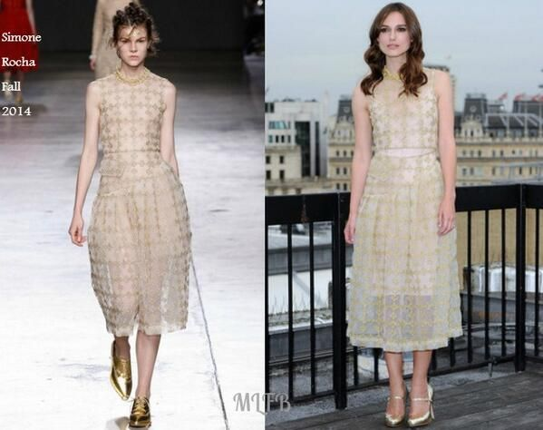 Keira Knightley In Simone Rocha - 'Begin Again' London Photocall. Re-tweet and favorite it here: https://twitter.com/MyFashBlog/status/484523929831104513/photo/1