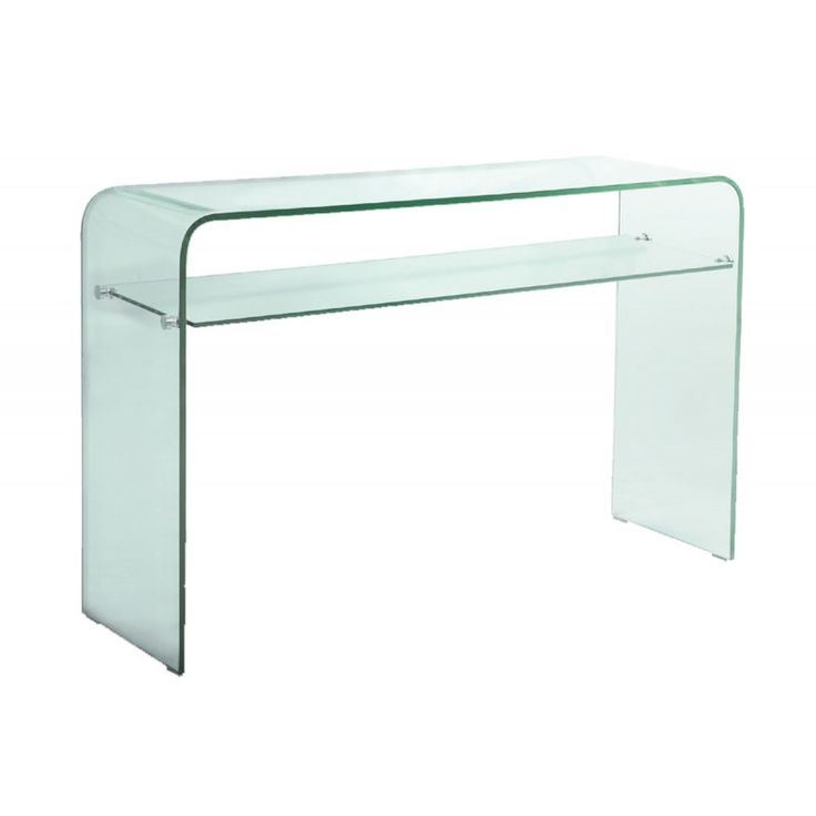 Glass console table with shelf Glasser Clear 12mm tempered ΕΜ734