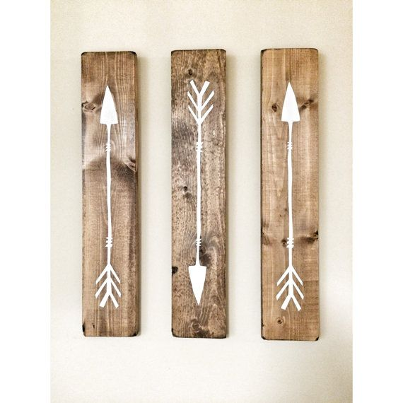 Rustic White Wooden Arrows  3 Piece Set door cherrytreegallery