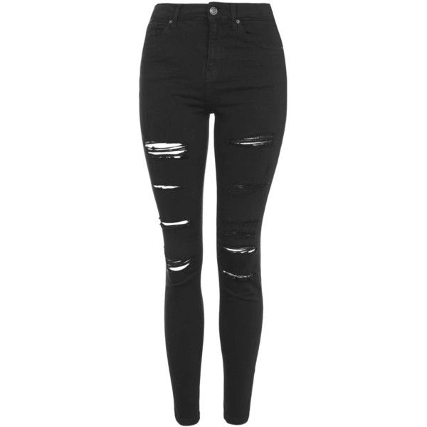 TOPSHOP MOTO Super Rip Jamie Jeans (£53) ❤ liked on Polyvore featuring jeans, bottoms, pants, black, black ripped jeans, high waisted ripped jeans, black destroyed skinny jeans, black distressed jeans and high-waisted skinny jeans