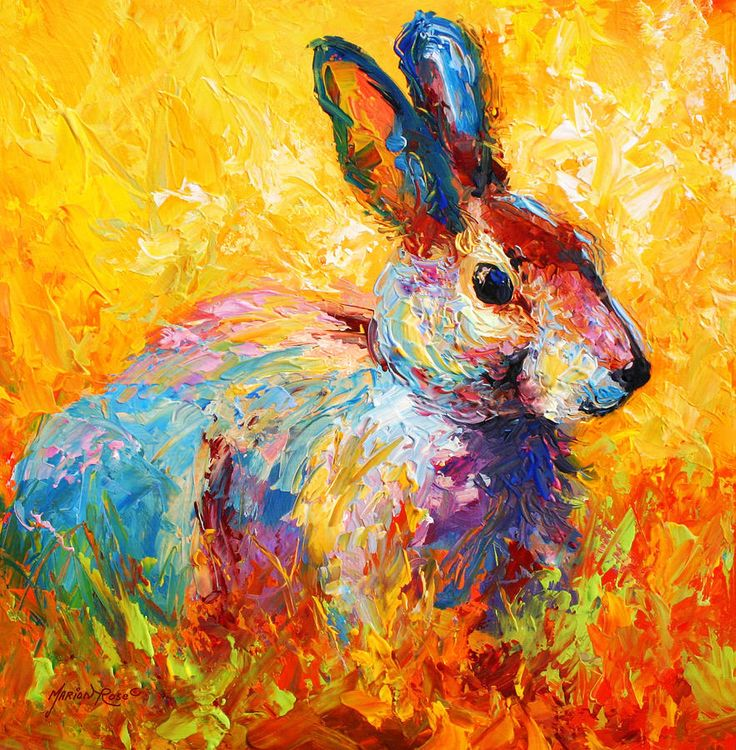 Example for texture painting of a bunny, year 3 week 4.   Forest Bunny Painting  - Jerrold Carton