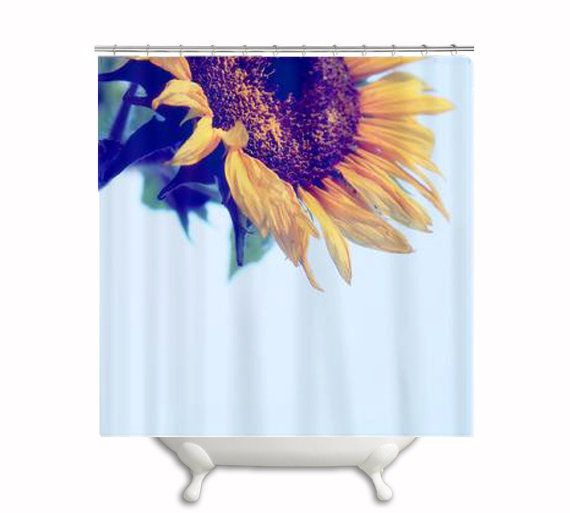 "Fabric Shower Curtain ""And Keep You Always"", Sunflower, Flower, Blue, Yellow, Gold, Shower, Bath, Bathroom, Home Decor, Photography, Photo"