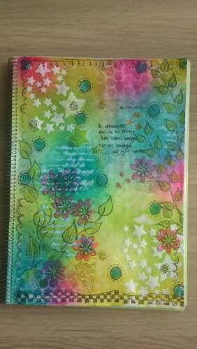 Art journal page Dylusions ink, stamps,stencils and texture paste 'I dreamed I could move the stars in the sky...'