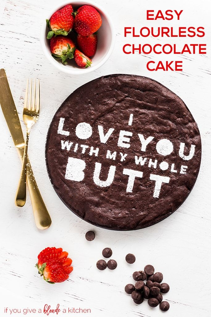 This easy flourless chocolate cake recipe is perfect for Valentine's Day. The gluten free cake is thick, decadent and tastes delicious with fresh strawberries. All you need is cocoa powder, butter, eggs, chocolate chips, vanilla and sugar.   www.ifyougiveablondeakitchen.com via @haleydwilliams