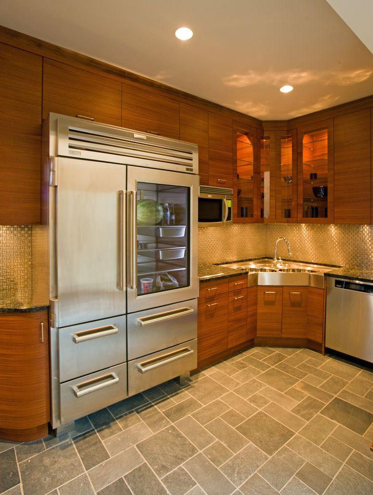 Contemporary kitchen- Back kitchen; corner sink; industrial refrigerator