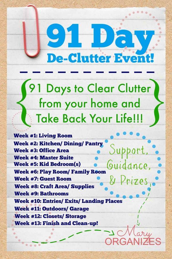 91 Day De-Clutter Event: Starting soon!!