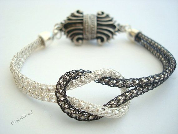 Bracelet Love Knot Silver and Black Diamond by CrookedCrystal