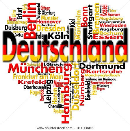 Written Germany and german cities with heart-shaped, german flag colors by Alberto Masnovo, via Shutterstock