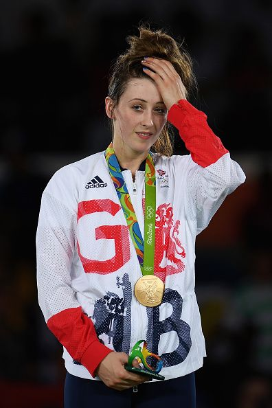 Gold medalist Jade Jones of Great Britain celebrates after defeating Eva Calvo…