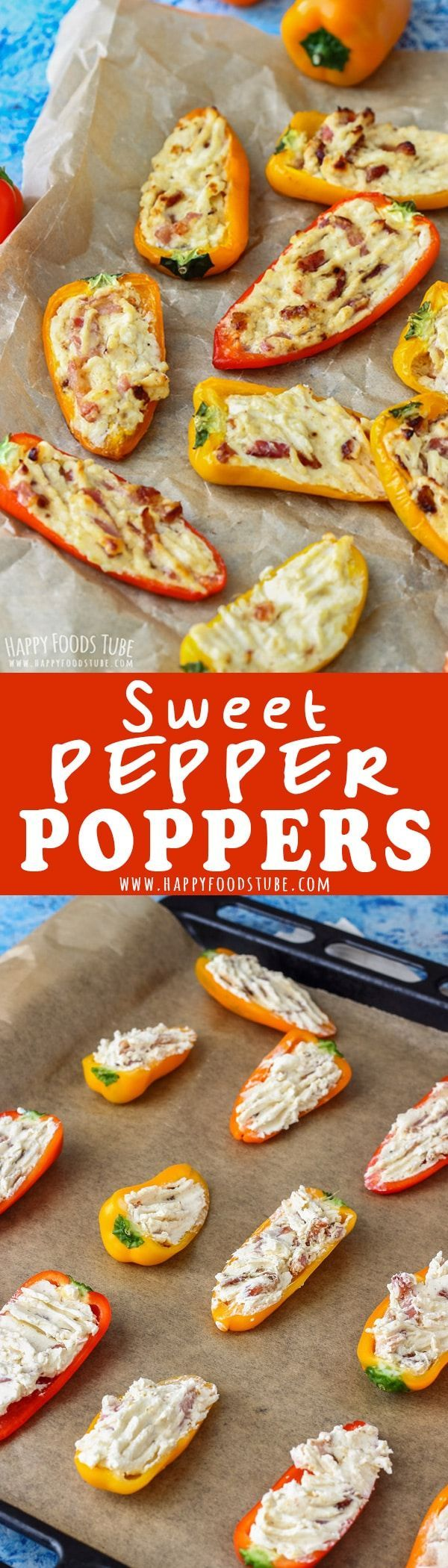 These Sweet Pepper Poppers are the perfect appetizers for parties and family gatherings. Ready in 30 minutes this oven baked party food is easy to make and tastes amazing. #pepper #poppers #party #food #recipe #bacon #cheese #stuffed #appetizers via @happyfoodstube