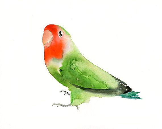 LOVEBIRD by DIMDI Original watercolor painting 10X8inch by dimdi