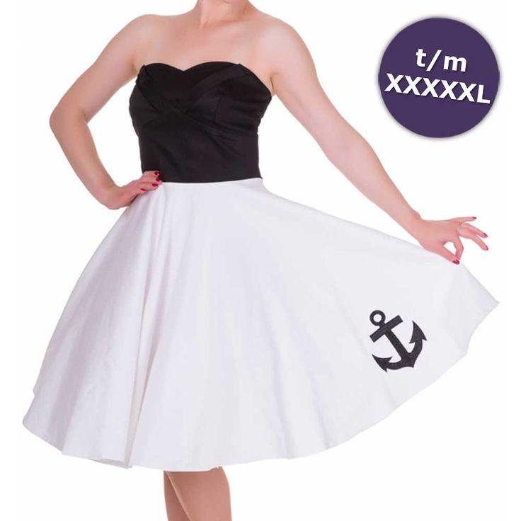 Melissa sailor jurk met geborduurde anker detail zwart/wit - Vintage 50's Rockabilly retro