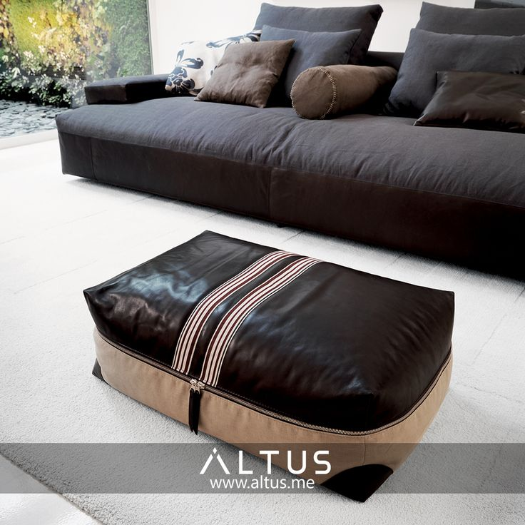 Stripe maxipouf, designed by R&S Désirée, made in Italy. www.Altus.me #leather #furniture #madeinitaly #luxury #interiordesign #design #designer #interiors
