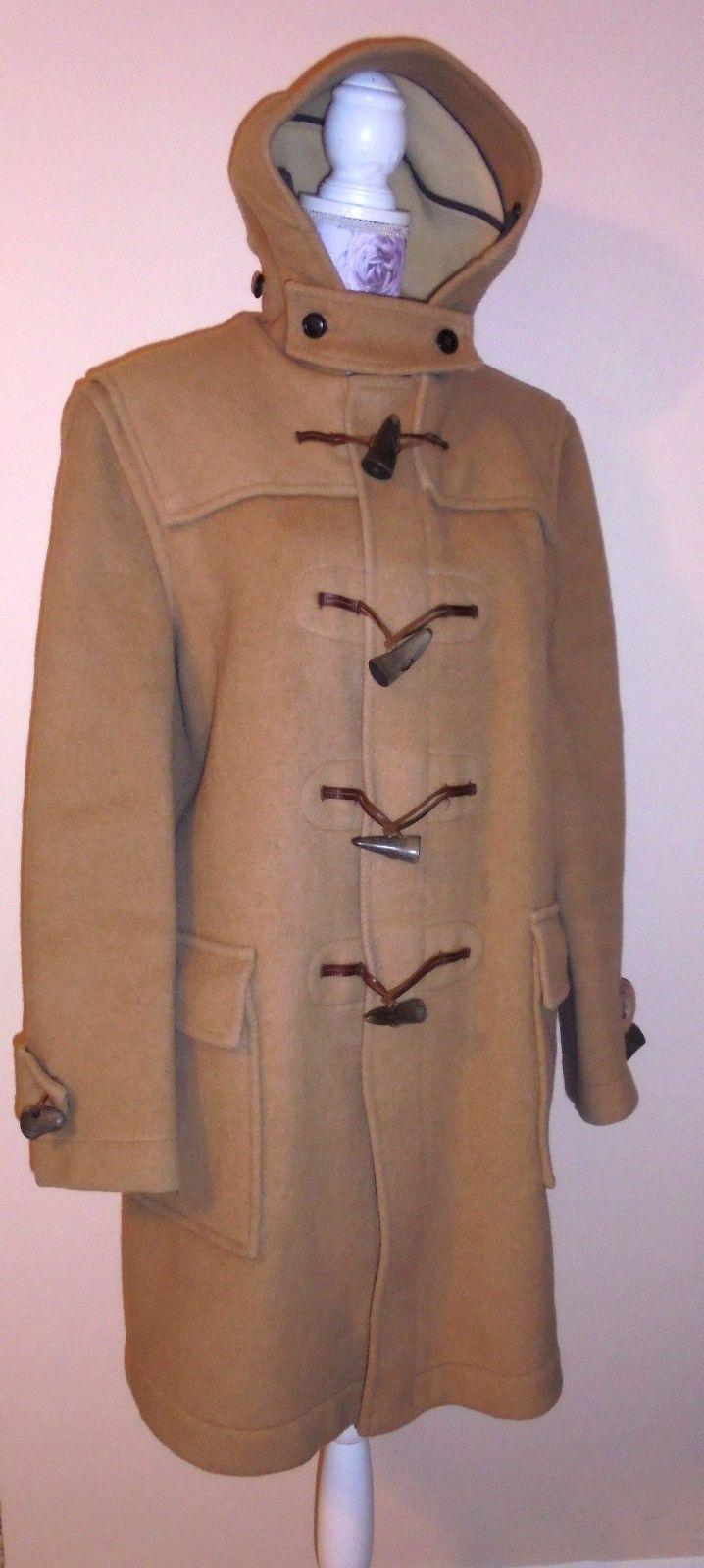 Vtg Gloverall of London Dolomite Duffle Coat Mens Jacket Tan Camel WOOL 40