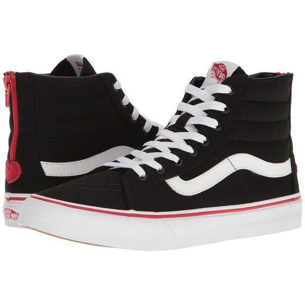 Vans SK8-Hi Slim Zip ((Valentines) Black/Racing Red) Skate Shoes ($75) ❤ liked on Polyvore featuring shoes, sneakers, black high tops, vans shoes, black high top sneakers, black leather shoes and black sneakers