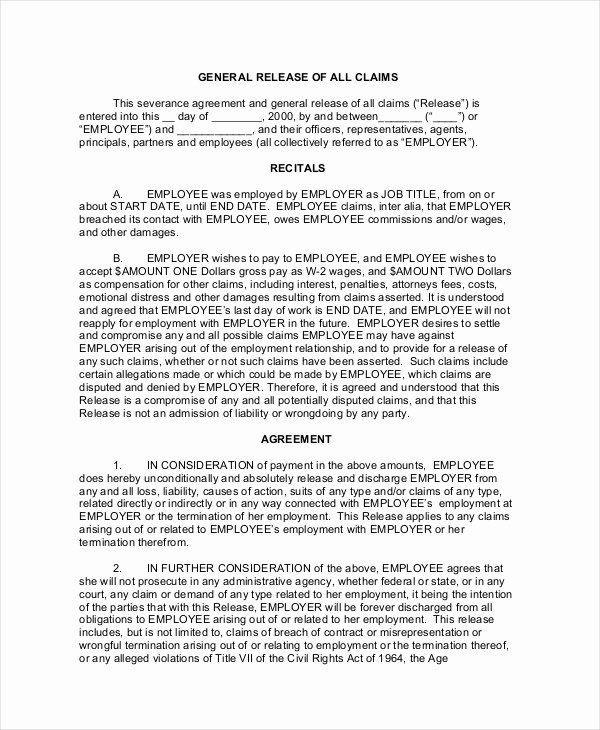 Sample General Release Form Unique Sample General Release Forms 11