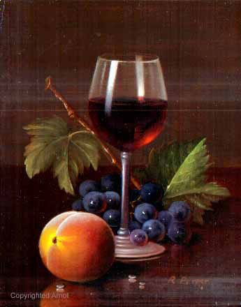Rath Berger~ Hungarian Painter 1947 ~ 'Wine Glass Peach' Original Oil on Panel, unframed size 4x6""