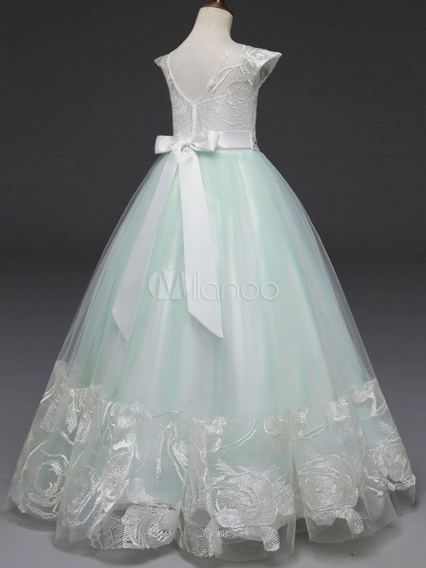 62568d1ebd8f Flower Girl Dresses Mint Green Short Sleeve A Line Beading Bow Sash Kids  Pageant Party Dress