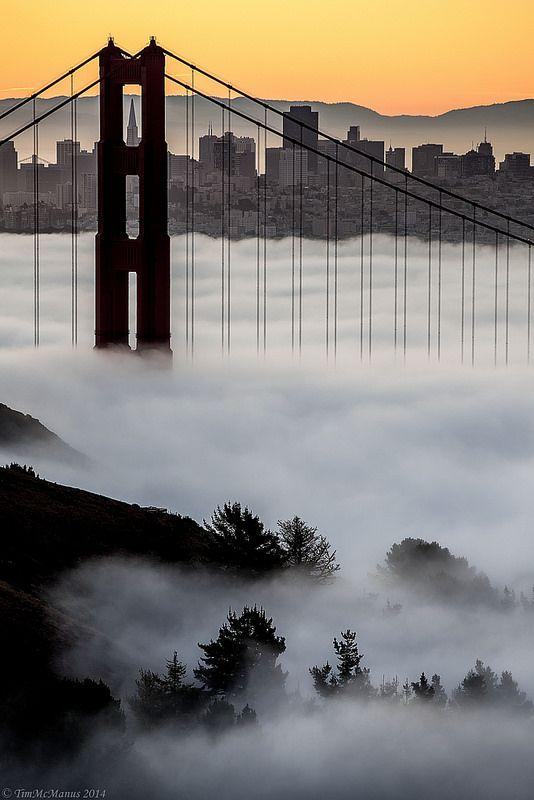 North Tower of the Golden Gate Bridge at Dawn ~ foggy San Francisco, California by Tim McManus