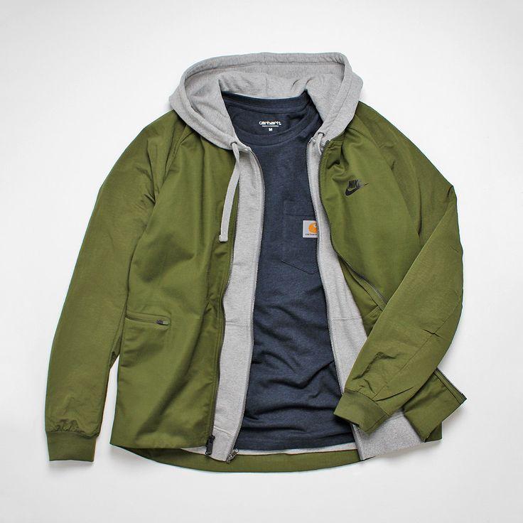 Urban Industry Outfit Selection. Nike Varsity Jacket, Patagonia P6 Zip Logo Hoody& Carhartt WIP Pocket T-Shirt