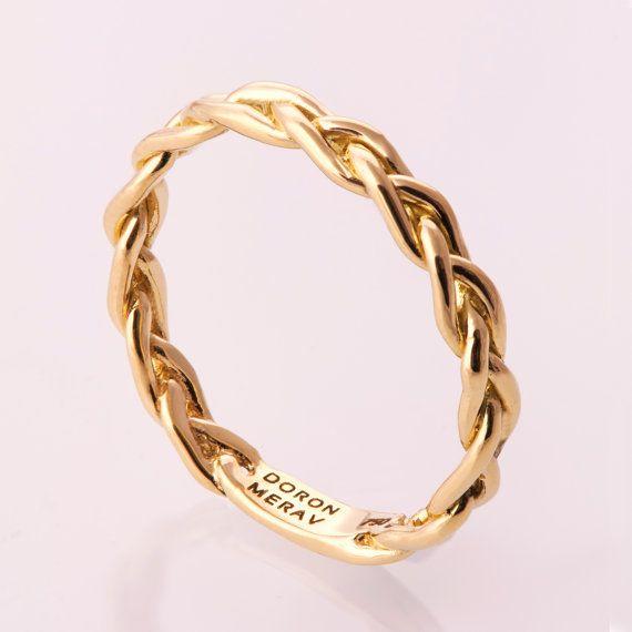 Umflochten 14K Stapel Ring Ehering 14K Gold Ring von doronmerav
