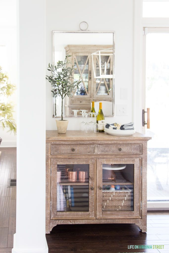 Dining Room Storage Solutions For Small Es I Love This Wood Buffet With Silver Mirror