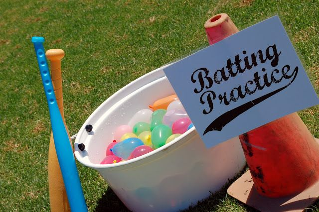 Water Balloon Batting: Fill bucket with water balloons. Have kids swing at them with plastic bats.