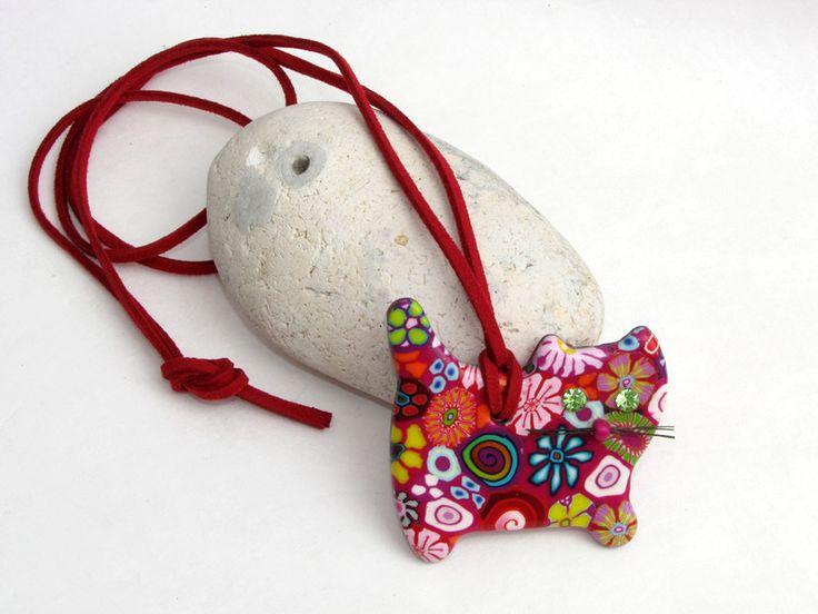 Ketten lang - Halskette Katze, polymer clay millefiori, fimo - ein Designerstück von filigran-Design bei DaWanda