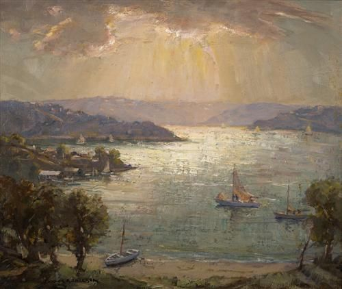 * JAMES R. JACKSON (1882-1975)   * Autumn Morning, Middle Harbour, Sydney   * oil on canvas on board   * 48.5 x 58.0 cm   * signed lower left: JAMES R JACKSON; inscribed with title and artist's name on original catalogue label verso   * Provenance:   * Christies, Sydney, 17 August 1999, lot 384   * Private collection, Melbourne   * Estimate $4,000-6,000  * Sold for $3,800