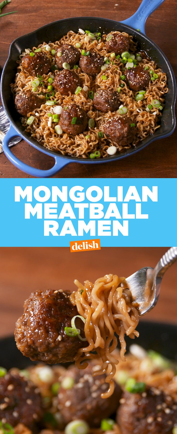 Mongolian Meatball Ramen is the sexier version of instant noodles. Get the recipe at Delish.com. #recipe #easyrecipe #mongolian #meatball #ramen #noodles #groundbeef #beef #meat #dinner #easydinner #sesame #asian