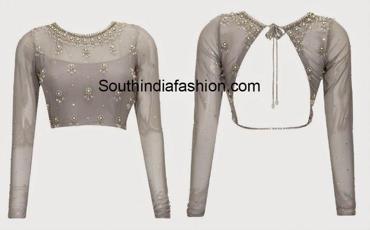 backless net blouse designs