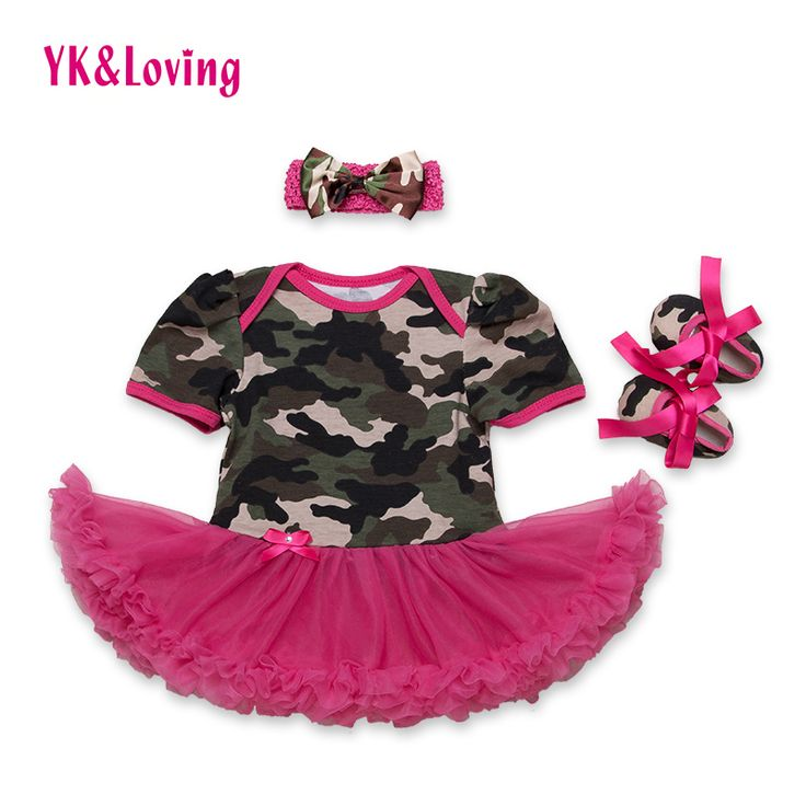Baby Dress Infant Camo Girls Dress with Red Ruffle Cotton Fashion Baby Girl Vestidos + Shoes + Headband Set New style 2016