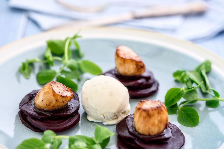 Scallops with beetroot, horseradish and pea shoots by Clare Fenwick Hyde of the Malvern Supper Club