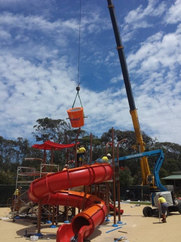 #Vortex #Splashpad at Discovery Holiday Park Pambula Beach - here comes the tipping bucket