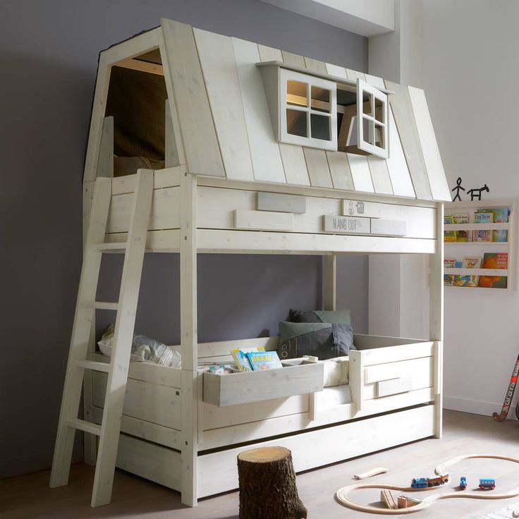 Adventure Kids Hangout Bed. This is the ultimate bed for kids and features a fun top den section that can be used either as a top bunk or a hangout area. #BunnkBed #TreeHouse