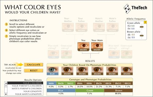 Calculadora color ojos hijos [TheTech] vía Microsiervos. Más fácil de entender imposible! ;-)