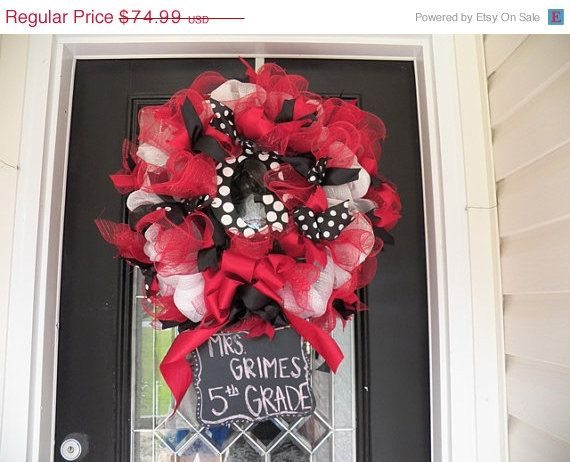 Christmas In July Sale Back to School Teacher Wreath, Teacher Door Hanger, Teacher Classroom Decoration on Etsy, $63.74