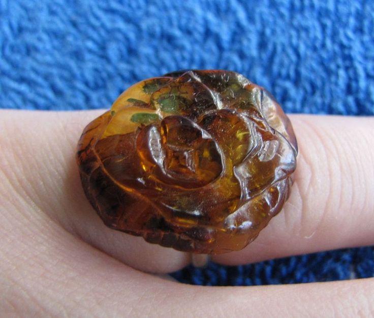 Natural Baltic amber 3 g gr ring 琥珀 gems carved rose flower handmade USSR #HandMade