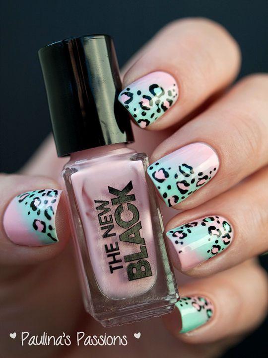 Pastel Leopard Print Nails