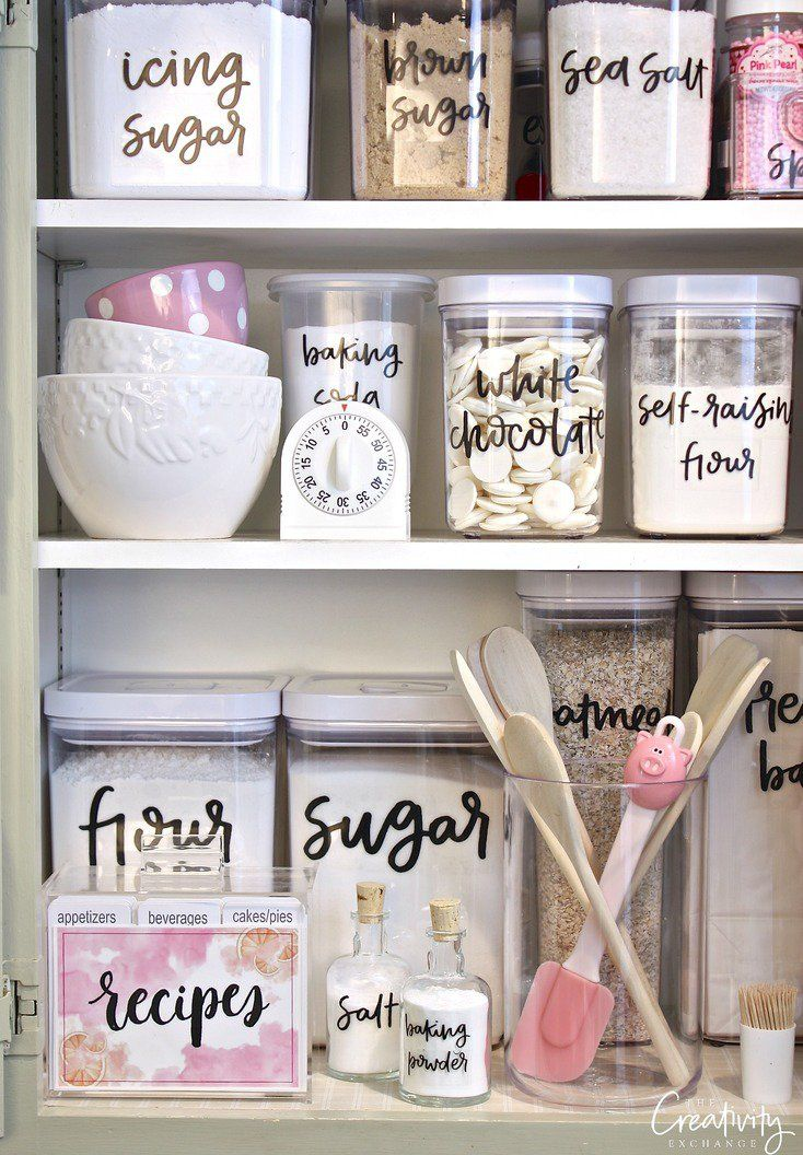 Printable hand lettered pantry labels. Print them out on clear label paper. Such a fun way to organize!