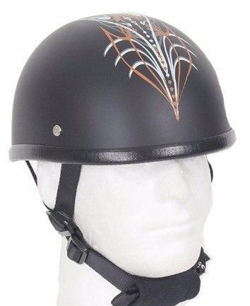 White and Orange Tribal Matte Black Novelty Helmet