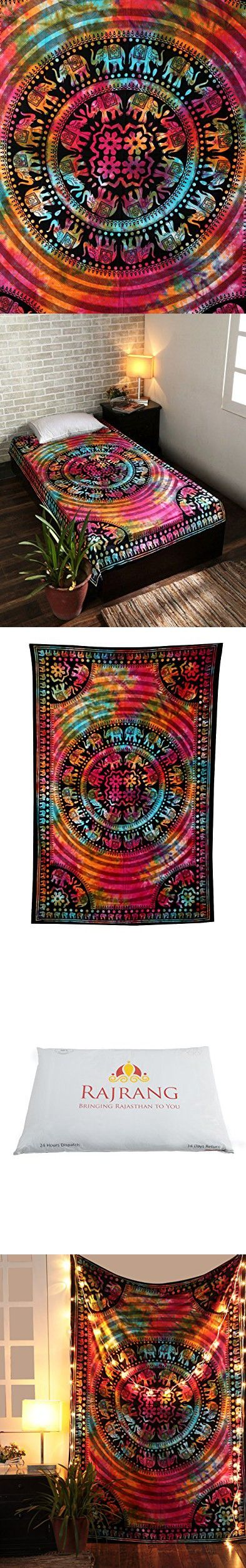 Tie Dye Elephant Mandala Hippie Tapestry, Hippy Mandala Bohemian Tapestries, Indian Dorm Decor, Psychedelic Tapestry Wall Hanging Ethnic Decorative