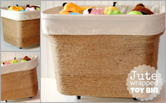 We love this jute wrapped toy bin by Happy-Go-Lucky