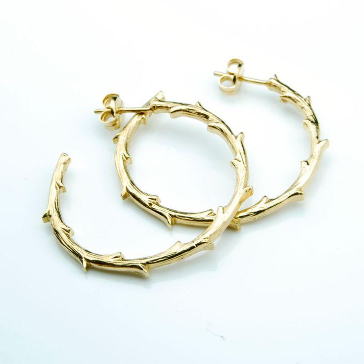 Gold Plated Hoop - Branch #branch #hoops Earrings