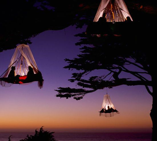 9 places i'd like to travel   designlovefest maybe it's impractical, but tree camping in elk, california looks COOL.