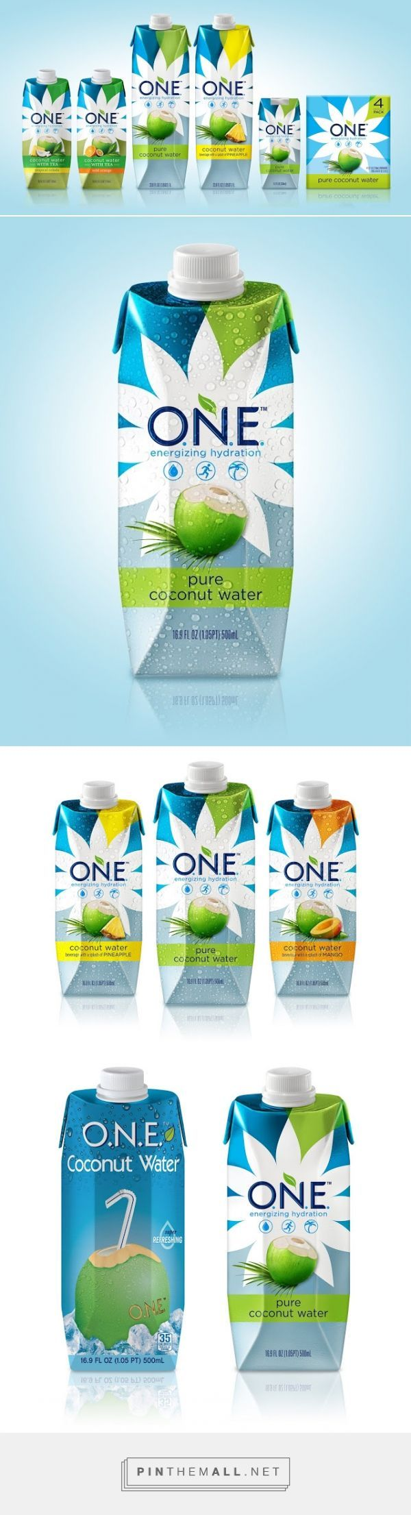 ONE Coconut Water Packaging designed by Voicebox Creative - http://www.packagingoftheworld.com/2015/11/one-coconut-water.html: