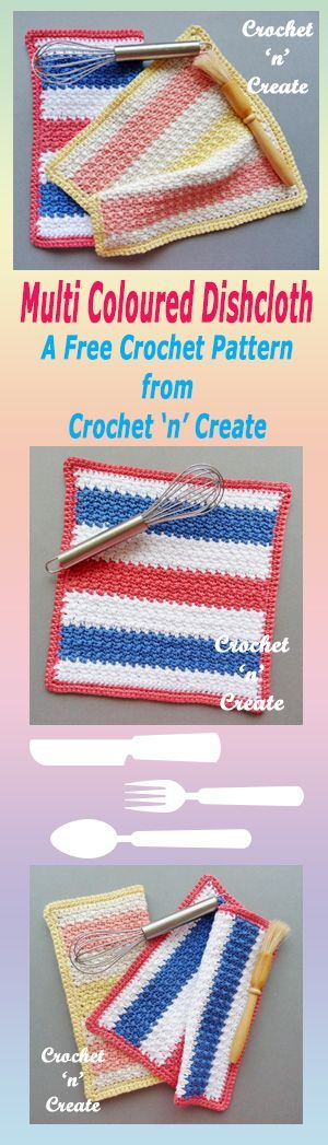 Free crochet pattern for multi color dishcloth.
